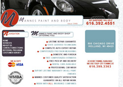 Mannes Paint and Body Shop website