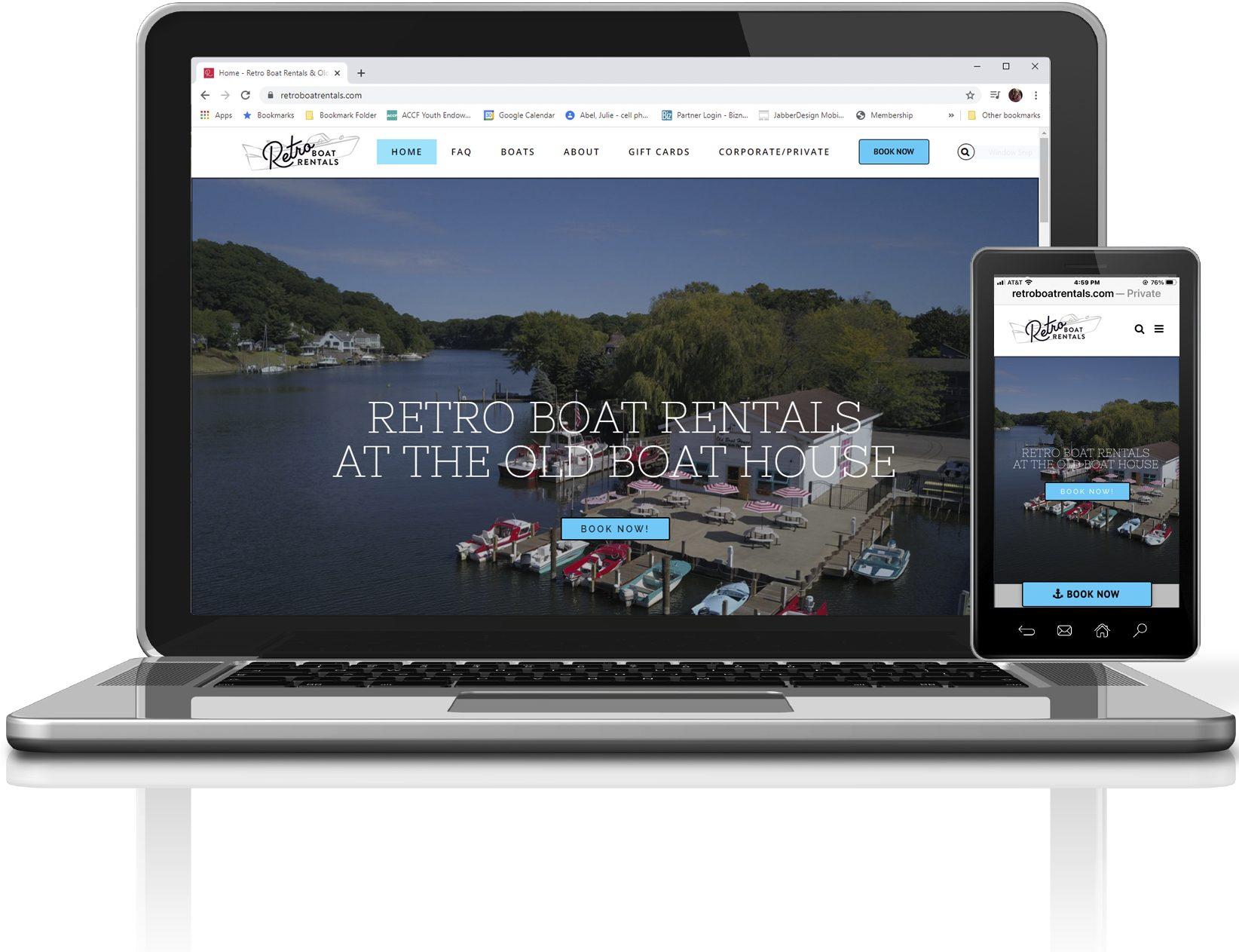 Retro Boat Rentals Website Designed by JabberDesign Website Design & Devleopment